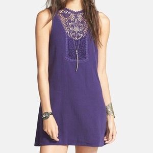 Free People purple maribelle mini dress sz Medium